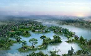Обои деревья, туман, пейзажи, речка