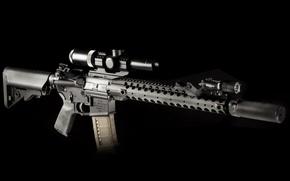 Картинка оружие, фон, фонарик, оптика, винтовка, глушитель, карабин, штурмовая, полуавтоматическая