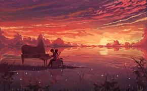 Картинка небо, девушка, облака, закат, светлячки, аниме, наушники, рояль, арт, парень, тетрадь, dias mardianto, donsaid
