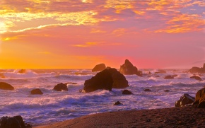 Обои море, волны, берег, скалы, небо, закат