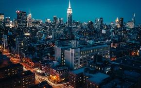 Обои city, new york, небоскребы, огни, ночь, город, нью - йорк