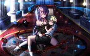 Картинка девушка, кровь, вампир, парень, anime, art, Krul Tepes, Последний Серафим, Mikaela Hyakuya, Owari no Seraph