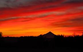 Картинка вулкан, силуэт, Чили, Анды, Осорно