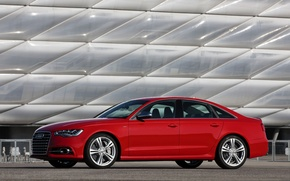 Картинка Audi, Красный, Авто, Седан, Вид сбоку
