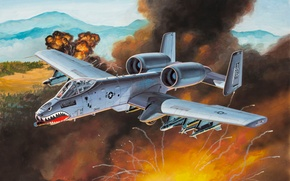 Картинка war, art, painting, aviation, Fairchild Republic A-10 Thunderbolt II