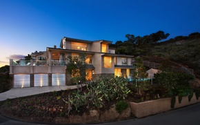 Картинка пейзаж, ночь, огни, дом, США, особняк, Laguna Beach