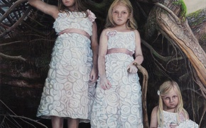 Картинка дети, девочки, картина, Sun Cult-2, норвежский художник, Christer Karlstad