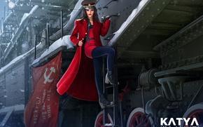 Картинка зима, девушка, снег, красное, рисунок, поезд, арт, в красном, фуражка, пальто, знамя, офицер, Nikita Bolyakov, …