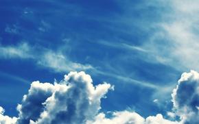 Обои небо, синий, Облака