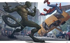 Обои драка, патрик браун, The Amazing Spider-man, такси, люди, город, человек-паук, ящер