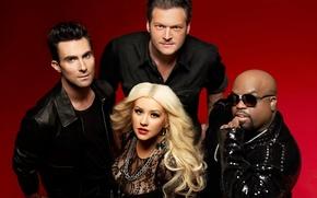 Картинка Christina Aguilera, сша, Кристина Агилера, The Voice, Adam Levine, Blake Shelton, голос, Cee-Lo Green