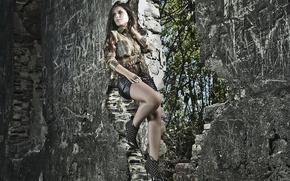 Картинка девушка, фон, стена, Thaís Melchior