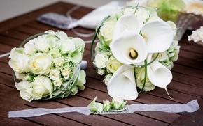 Картинка белый, розы, букет, лента, доска, белые, свадьба, Roses, декор, wedding, каллы, Bouquets