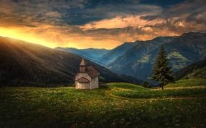 Обои закат, горы, дерево, ель, Альпы, Италия, панорама, часовня, Italy, Alps, Южный Тироль, South Tyrol