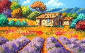 Картинка небо, деревья, пейзаж, цветы, горы, картина, сад, двор, домик, клумба