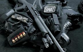 Обои оружие, дробовик, swat, Жилет