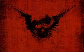 Обои брызги, отпечаток, крылья, череп