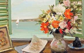 Картинка ваза, картина, цветы, лодка, окно, Открытые ставни, Марсель Диф, парус