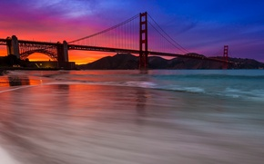 Картинка небо, облака, закат, горы, мост, залив, зарево, Сан-Франциско, Золотые Ворота, США