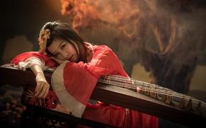 Картинка инструмент, взгляд, девушка, музыка, азиатка