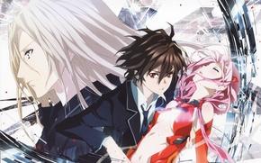 Картинка лицо, магия, розовые волосы, Shu Ouma, Guilty Crown, Yuzuriha Inori, превращение, Gai Tsutsugami, Корона грешника, …