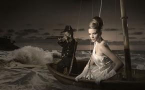 Картинка волны, лодка, платье