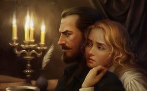 Обои перо, взгляд, мужчина, свечи, девушка, арт, профиль