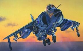 Картинка war, art, Harrier, painting, jet