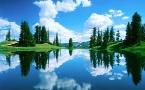 Картинка лес, небо, вода, облака