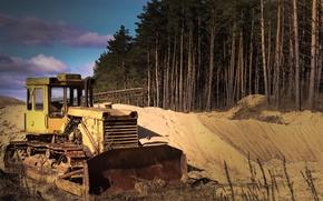 Картинка песок, пейзаж, техника, трактор, экскаватор