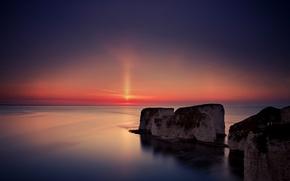 Обои море, вода, солнце, закат, горы, гладь, берег, Англия, вечер, Великобритания, штиль