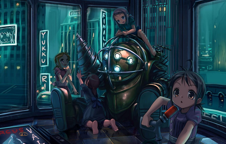 Обои girls, armor, town, diving suit, Bioshock. Разное foto 6