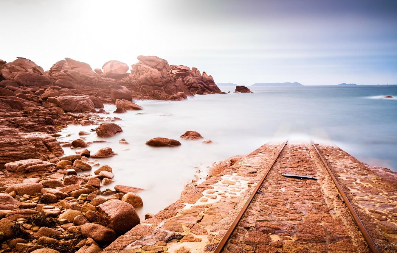 Фото обои дорога, море, берег