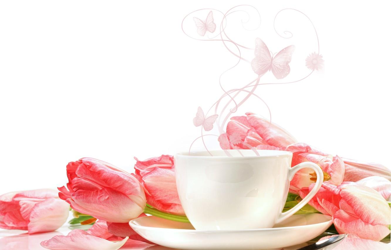Фото обои цветы, чашки, тюльпаны