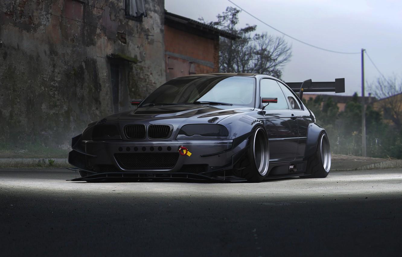 Фото обои BMW, Car, Front, E46, Silver, Widebody, Hugo Silva