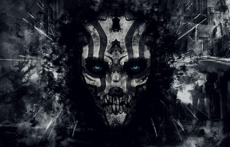 Фото обои abstract, skull, black, eyes, background, mask