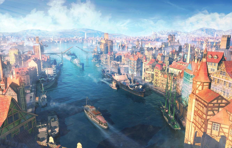 Фото обои небо, облака, пейзаж, город, река, лодка, корабль, дома, арт, порт