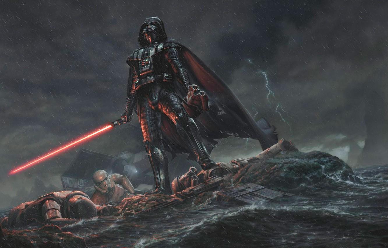 Фото обои дождь, Star Wars, Darth Vader, Дарт Вейдер, лазерный меч