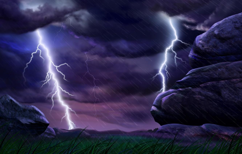 Фото обои гроза, дождь, стихия, молния, ливень
