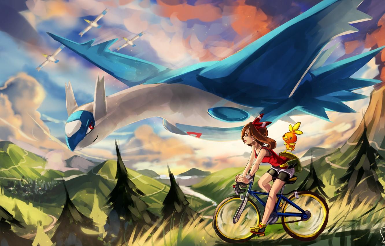 Фото обои девушка, велосипед, картина, покемон, pokemon, wingull, latios, torchic