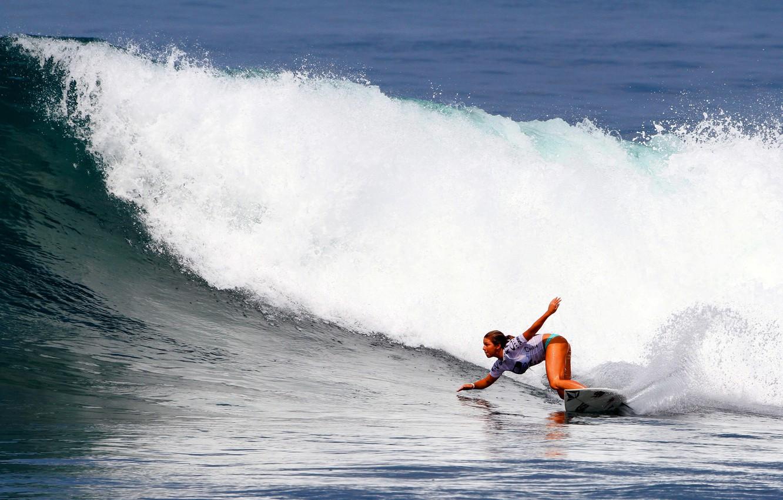 Фото обои девушка, волна, серфинг, доска, surfing