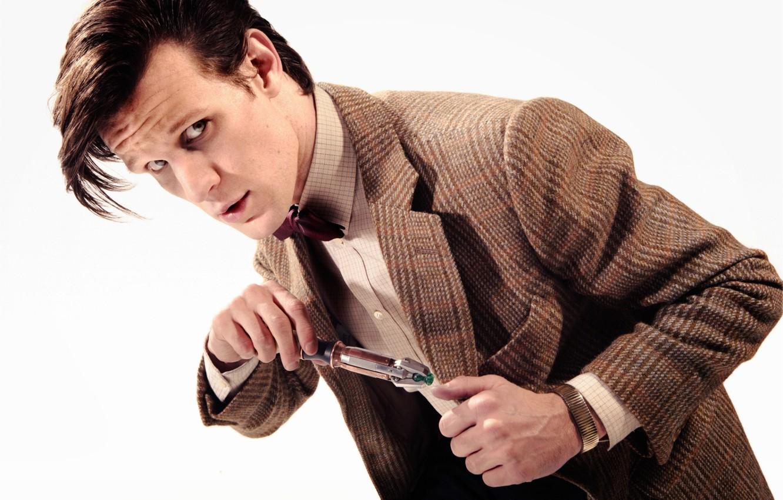 Фото обои Мужчина, Doctor Who, Доктор Кто, Мэтт Смит, Matt Smith, Белый Фон