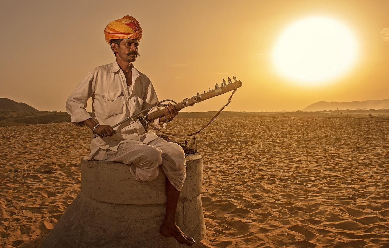 Фото обои музыка, человек, Индия, инструмент