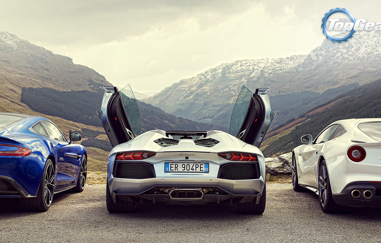 Фото обои Roadster, Горы, Lamborghini, Зад, Aston, Martin, Ferrari, Двери, Фары, V12, LP700-4, Aventador, Supercars, Berlinetta, F12, …
