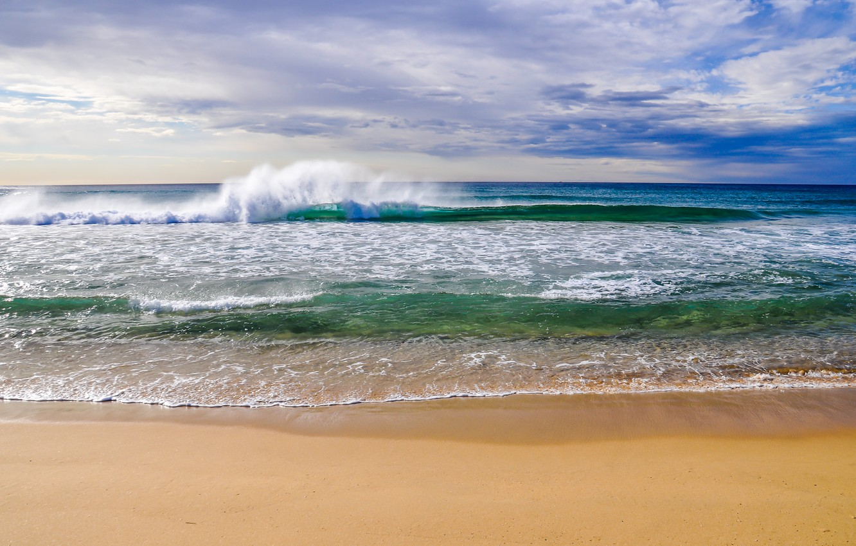 Фото обои песок, море, пляж, небо, облака, пейзаж, природа