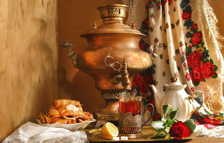 Фото обои лимон, чай, роза, чайник, натюрморт, самовар, блины, платок, этно, Масленица