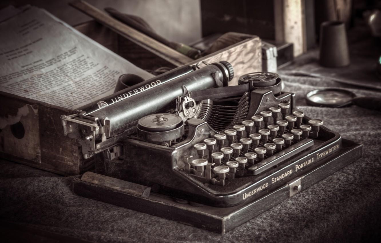 Фото обои макро, фон, old typewriter