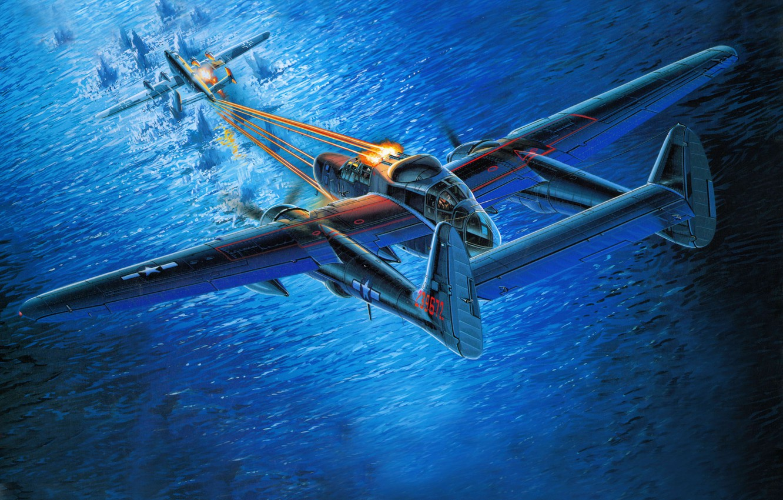 Обои p-61, ww2, black widow, painting, истребитель, P-61 black widow, aircraft art. Авиация foto 9
