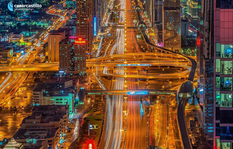 Фото обои ночь, огни, дороги, Дубай, ОАЭ