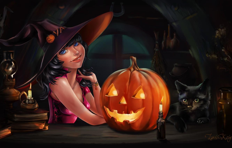 Фото обои девушка, праздник, арт, Halloween, тыква, Хэллоуин, черный кот, Witch
